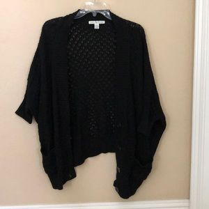 Love By Design Black Short Sleeve Shawl Cardigan